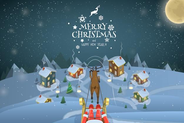 Ilustração de paisagem de noite de natal. papai noel está voando sobre um villige.
