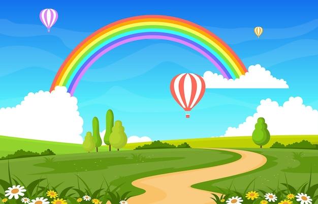 Ilustração de paisagem de paisagem de arco-íris de estrada sinuosa
