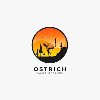 Ilustração de paisagem de passeio de avestruz.