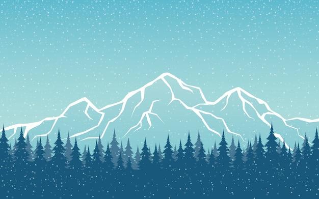 Ilustração de paisagem de picos de montanha e floresta de pinheiros a nevar