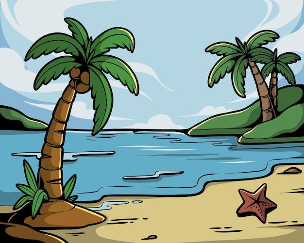 Ilustração de paisagem de praia com coqueiro