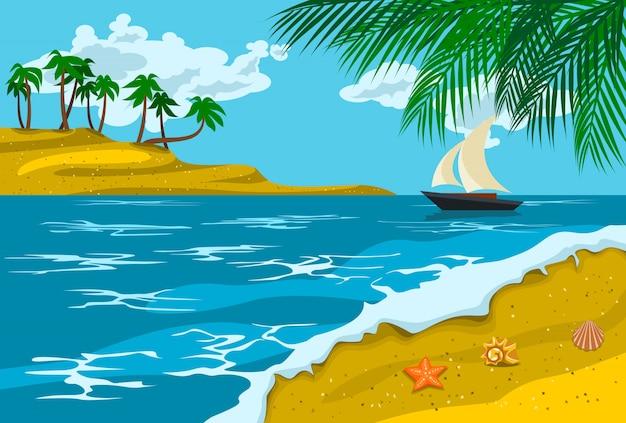 Ilustração de paisagem de praia de verão