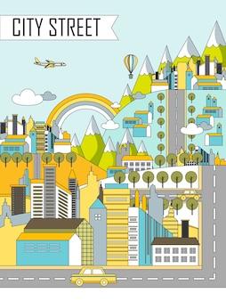 Ilustração de paisagem de rua de cidade em estilo de linha