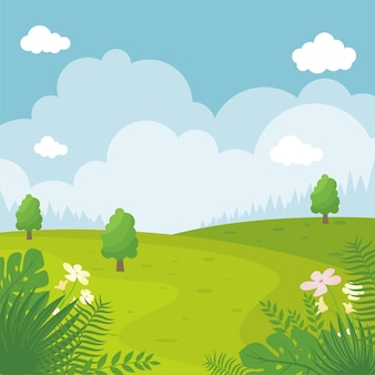 Ilustração de paisagem de verão, simples e moderna com estilo de desenho animado plano