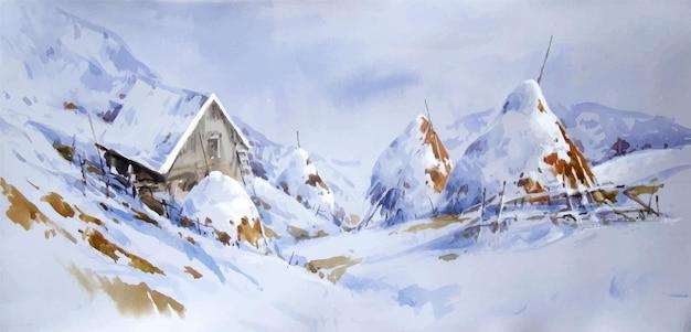 Ilustração de paisagem em aquarela, montanhas cobertas de neve, pintura