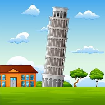 Ilustração, de, paisagem, fundo, com, pisa, torre