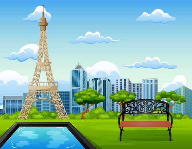 Ilustração, de, paisagem, fundo, com, torre eiffel