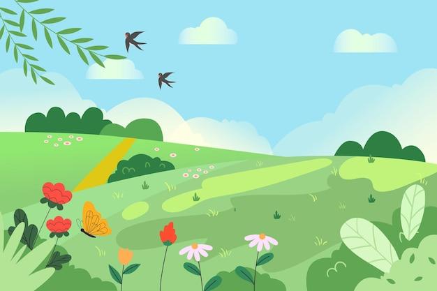 Ilustração de paisagem natural de linda primavera