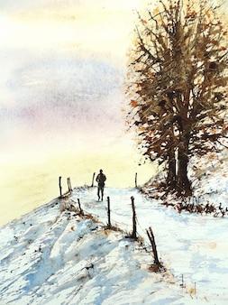 Ilustração de paisagem natural desenhada à mão em aquarela