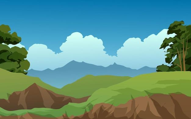 Ilustração de paisagem natural em dia ensolarado