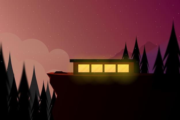 Ilustração de paisagem natureza da casa com floresta de pinheiros na montanha de pico alto, com céu noturno estrelado