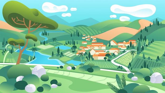 Ilustração de paisagem rural com casas, rio, montanha, árvores e belas paisagens