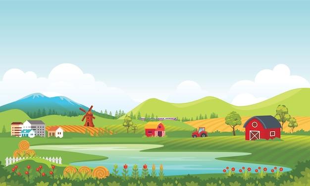 Ilustração de paisagem rural de agricultura