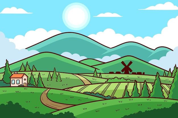 Ilustração de paisagem rural de design plano