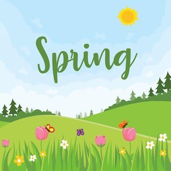 Ilustração de paisagem temática de primavera