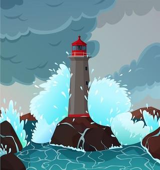 Ilustração de paisagem tempestuosa à beira-mar