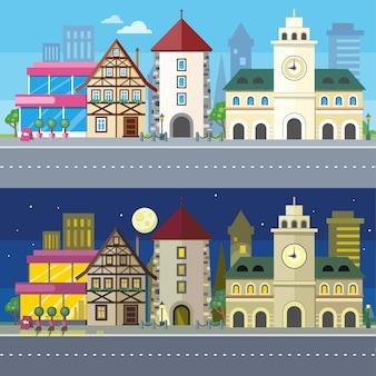 Ilustração de paisagem urbana da cidade da noite e dia