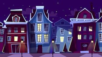 Ilustração de paisagem urbana de Amesterdão. Ruas e casas da noite de Amsterdão dos desenhos animados