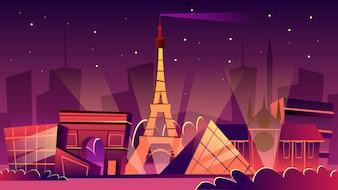Ilustração de paisagem urbana de Paris. Desenhos animados Paris Marcos na noite, Torre Eiffel