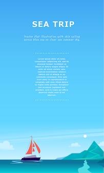Ilustração de paisagem verão plana com navio navegando através do oceano em direção à costa com montanhas no céu nublado azul.