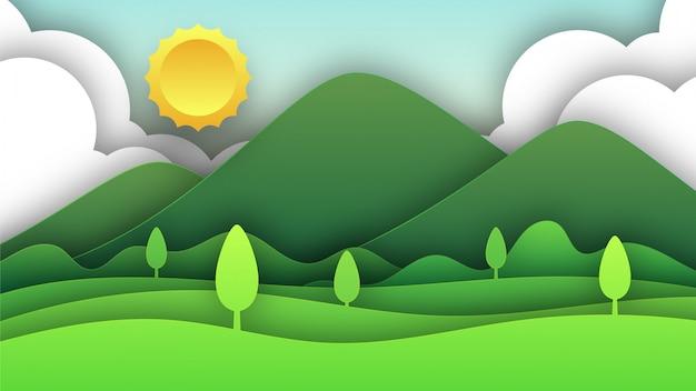 Ilustração de paisagem verde paisagem