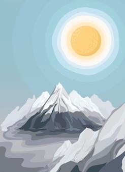 Ilustração de paisagem vista montanha pintada