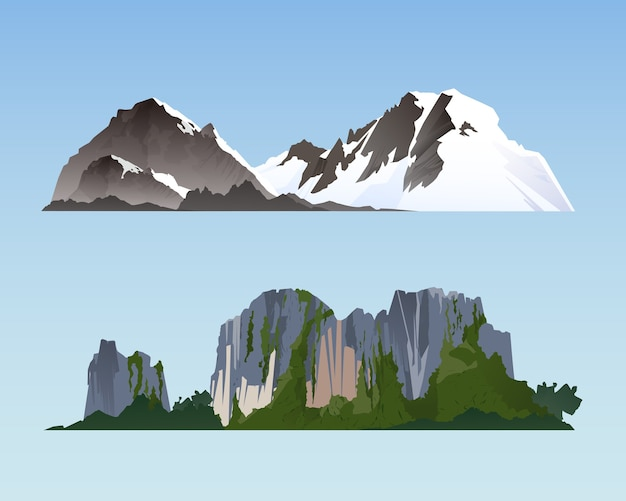 Ilustração de paisagens de acampamento e elementos da natureza