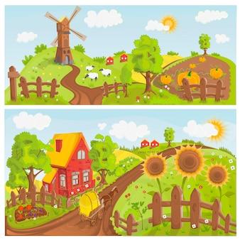 Ilustração de paisagens rurais