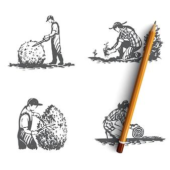 Ilustração de paisagismo cortando grama