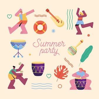 Ilustração de palavras de festa de verão