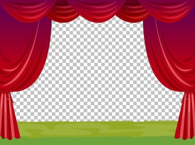 Ilustração de palco vazio com cortinas vermelhas transparentes