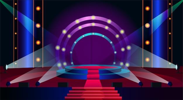 Ilustração de palco vazio, holofote brilhando no pódio.