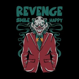 Ilustração de palhaço vestindo terno legal com sorriso de vingança e letras felizes