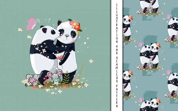 Ilustração de panda casal fofo para crianças