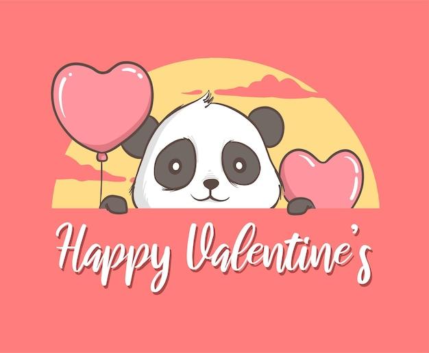Ilustração de panda com coração de balão.