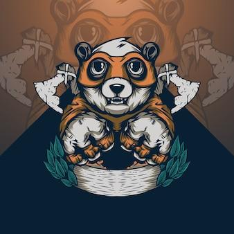 Ilustração de panda com machado