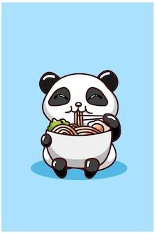 Ilustração de panda comendo macarrão