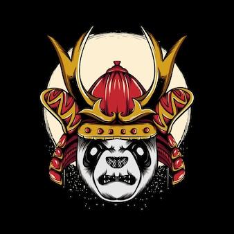 Ilustração de panda em estilo guerreiro japonês para design de camiseta