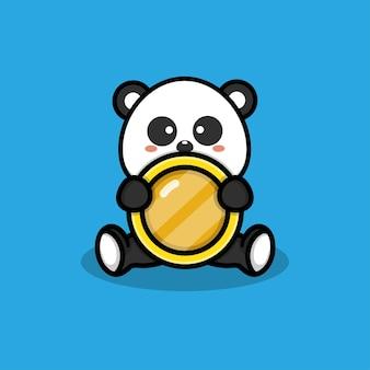 Ilustração de panda fofo com moedas