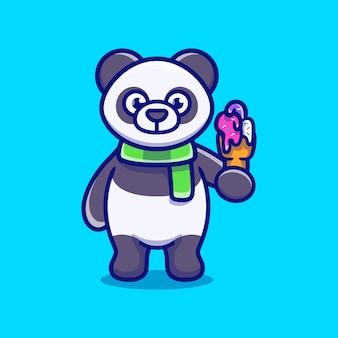Ilustração de panda fofo comendo sorvete