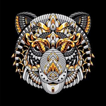 Ilustração de panda, ilustração colorida zentangle