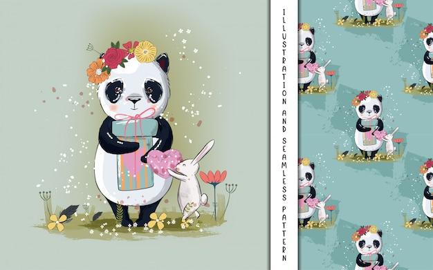 Ilustração de panda pequeno bonito para crianças