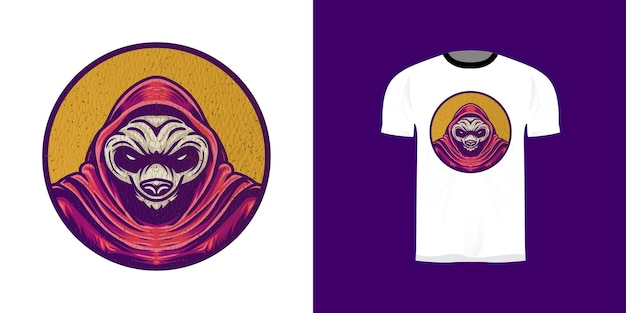 Ilustração de panda retrô para design de adesivo, design de t-shirt