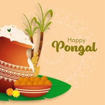 Ilustração de panela de lama de arroz pongali com espigas de trigo, cana-de-açúcar e tigela de laddu em fundo laranja pastel padrão de mandala para feliz pongal.