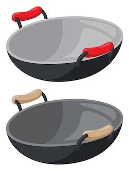 Ilustração de panela wok de desenho animado