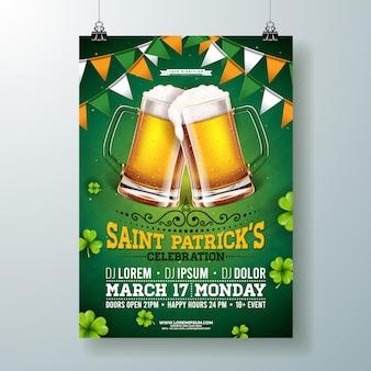 Ilustração de panfleto de festa de saint patricks day com cerveja, bandeira e trevo sobre fundo verde.