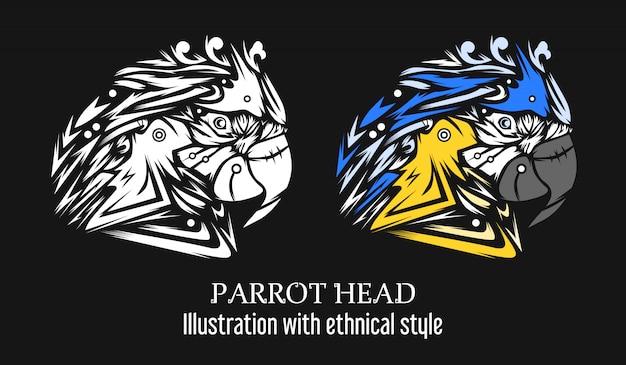 Ilustração de papagaio com estilo étnico