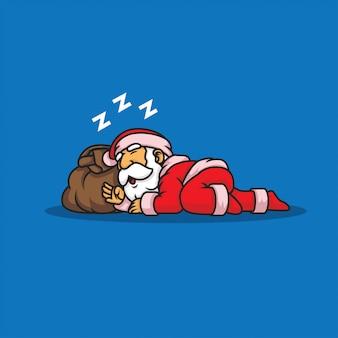 Ilustração de papai noel com sono