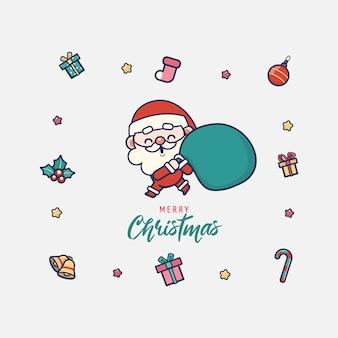 Ilustração de papai noel fofinho e feliz natal
