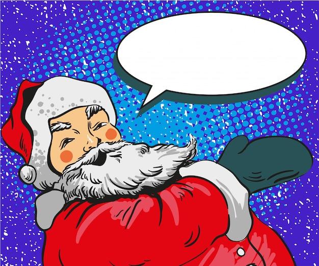 Ilustração de papai noel no estilo quadrinhos pop art. cartaz de férias feliz natal e cartão de cumprimentos